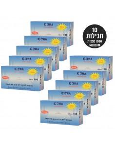 אקסטרא - 10 חבילות כפפות לטקס 100 יחידות כל חבילה / M