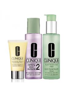 סט 3 השלבים של קליניק לעור רגיל עד שמן- 1 סבון פנים 2 מי הסרה 3 תחליב לחות