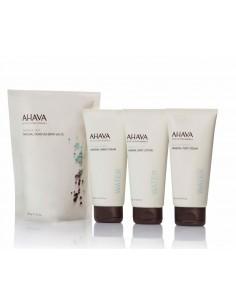 מארז טיפוח AHAVA - קרם גוף + קרם ידיים + קרם רגליים + מלח אבמט טבעי מים המלח