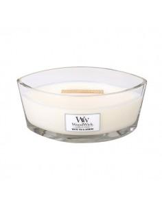 WoodWick - נר עם להבה ייחודית בריח White Tea & Jasmine