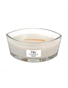 WoodWick - נר עם להבה ייחודית בריח Warm Wool