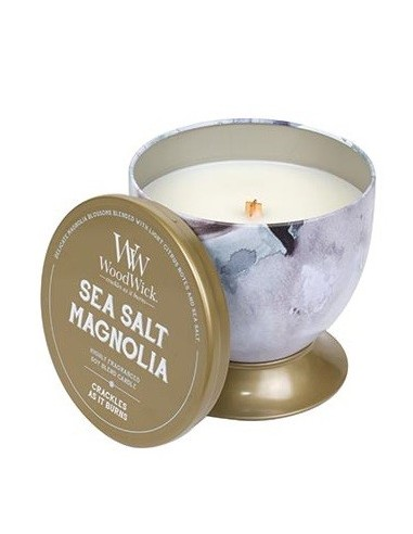 WOODWICK - נר אווירה Artisan Tin Sea Salt Magnolia