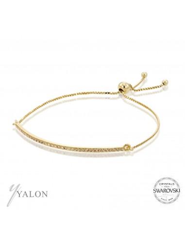צמיד גשר זהב משובץ אבני שמפניה SWAROVSKI