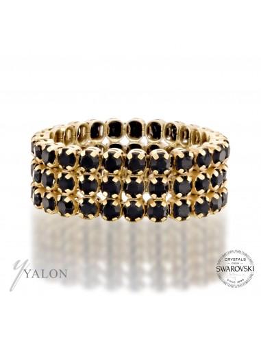טבעת טניס 3 שורות זהב משובצת אבני בלאק SWAROVSKI