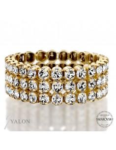 טבעת טניס 3 שורות זהב משובצת אבני SWAROVSKI