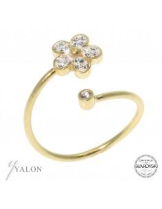 טבעת פרח זהב משובצת אבני SWAROVSKI