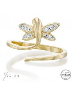 טבעת שפרירית זהב משובצת אבני SWAROVSKI