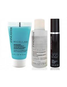 לנקסטר - סט טיפוח מוקטן לעור הפנים: סרום + מיסרלים + ג'ל ניקוי